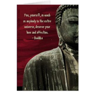 Red Buddha Statue Card Customizable