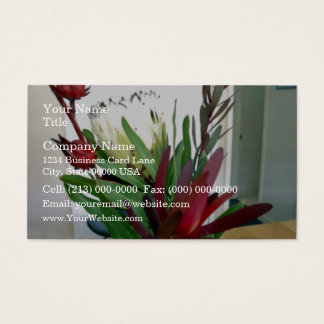Red buds and white flowers business card