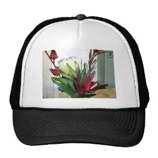 Red buds and white flowers hats