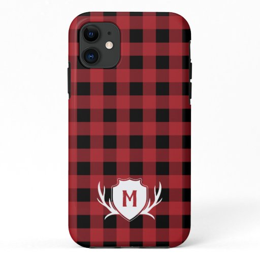 Red Buffalo Check Antler & Shield Rustic Monogram iPhone 11 Case
