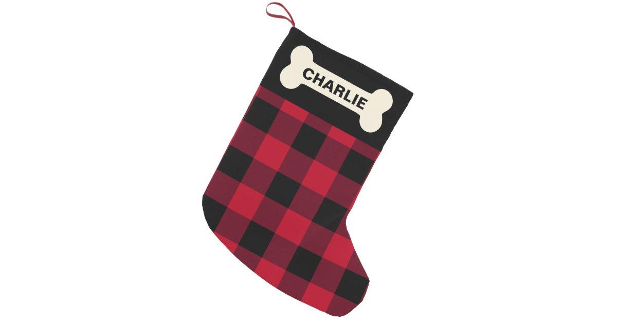 Dog Bone Christmas Stocking.Red Buffalo Check Dog Bone Rustic Custom Name Small Christmas Stocking Zazzle Com