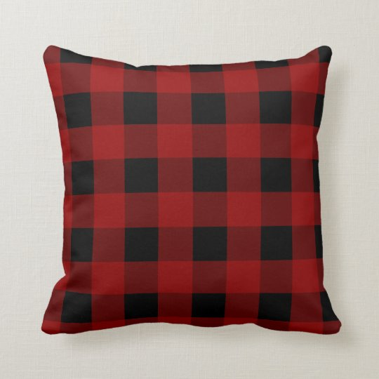 Red Buffalo Check Gingham Pattern Throw Pillow Zazzle