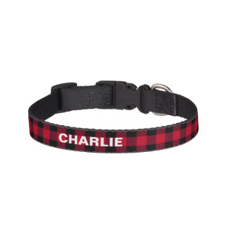 Red Buffalo Check Rustic Custom Name Pet Collar