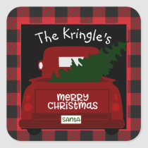 Red Buffalo Check Vintage Truck Christmas Sticker