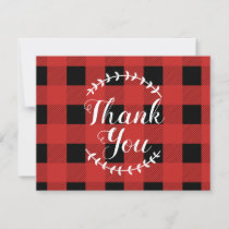 Red Buffalo Check with Laurels Thank You Card