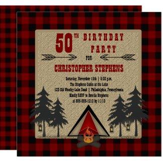 Red Buffalo Checks Man's Rustic Birthday Party Invitation