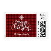 Red Buffalo Merry Christmas Snowflake Monogram Postage