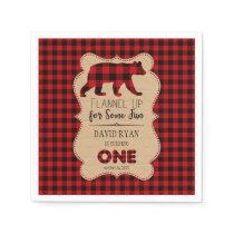 Red Buffalo Plaid Birthday ONE Custom Paper Napkin