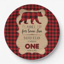 Red Buffalo Plaid Birthday ONE Custom Paper Plate