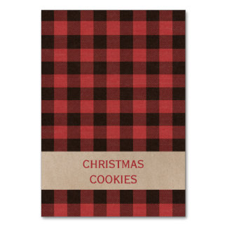 Red Buffalo Plaid Christmas Buffet Food Labels Card