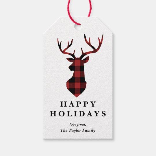 Red Buffalo Plaid Christmas Deer Silhouette Gift Tags