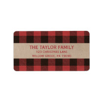 Red Buffalo Plaid Christmas Label