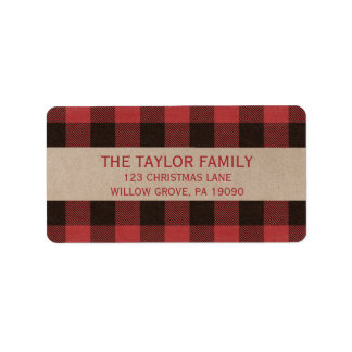 Red Buffalo Plaid Christmas Label