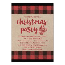 Red Buffalo Plaid Christmas Party Card