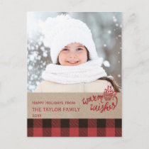 Red Buffalo Plaid Christmas Photo Holiday Postcard