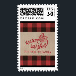 """Red Buffalo Plaid Christmas Postage<br><div class=""""desc"""">These red buffalo plaid christmas postage stamps are perfect for a rustic holiday card or invitation. The comfy and cozy design features a red and black buffalo check pattern and faux kraft paper texture. The holiday greeting reads &quot;warm wishes&quot; in a festive red font with a warm mug of hot...</div>"""