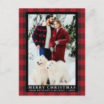 Red Buffalo Plaid Couple Photo Merry Christmas Postcard