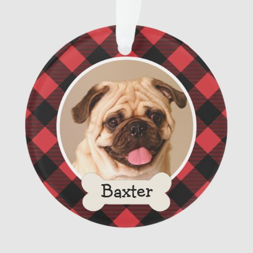 Red Buffalo Plaid Custom Pet Puppy Dog Photo Ornament