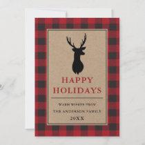 Red Buffalo Plaid Happy Holidays Deer Kraft Holiday Card