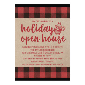 Red Buffalo Plaid Holiday Open House Card