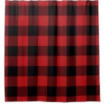 Red Buffalo Plaid Home Decor Shower Curtain