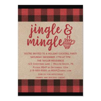 Red Buffalo Plaid Jingle and Mingle Cocktail Party Card