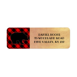 Red Buffalo Plaid Lumberjack Bear Label