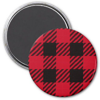 Red Buffalo Plaid 3 Inch Round Magnet