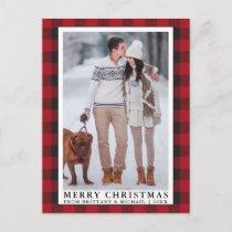 Red Buffalo Plaid Merry Christmas Couple Photo Postcard