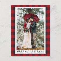 Red Buffalo Plaid Merry Christmas Wedding Photo Postcard