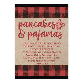 Red Buffalo Plaid Pancakes and Pajamas Party Card