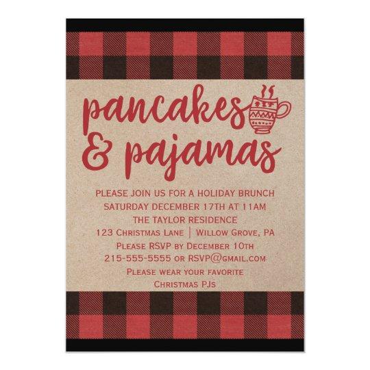 Red Buffalo Plaid Pancakes And Pajamas Party Card Zazzle Com