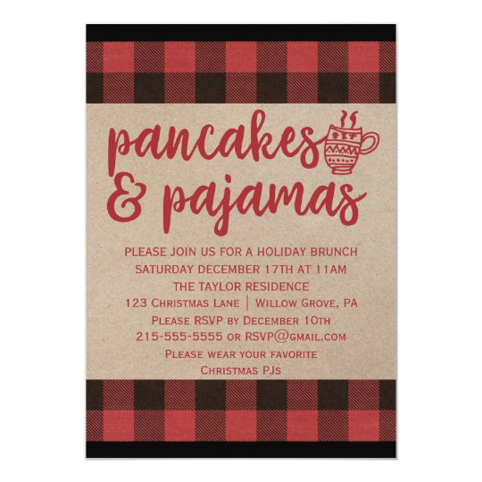red buffalo plaid pancakes and pajamas party invitation zazzle com