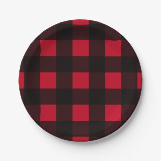 Red Buffalo Plaid Paper Plate