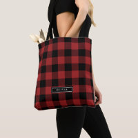 Red Buffalo Plaid Pattern Monogrammed Bridesmaid Tote Bag