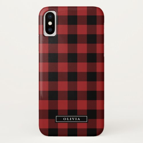 Red Buffalo Plaid Pattern Name Phone Case