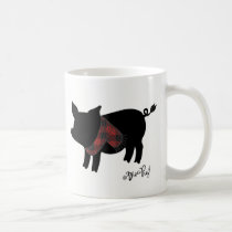 Red Buffalo Plaid Pig With Scarf Coffee Mug