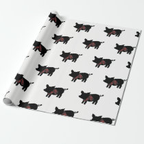 Red Buffalo Plaid Pig With Scarf Wrapping Paper