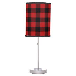 Red Buffalo Plaid Print Pattern Desk Lamp