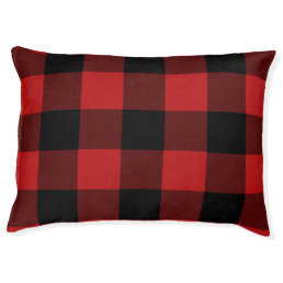 Red Buffalo Plaid Print Pattern Pet Bed