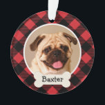 """Red Buffalo Plaid Puppy Dog Photo Ornament<br><div class=""""desc"""">Personalize this festive red and black buffalo flannel plaid ornament design with a monogram of your dog&#39;s first name on a bone nameplate and with their photo.</div>"""