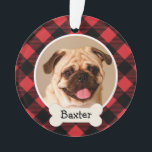 "Red Buffalo Plaid Puppy Dog Photo Ornament<br><div class=""desc"">Personalize this festive red and black buffalo flannel plaid ornament design with a monogram of your dog&#39;s first name on a bone nameplate and with their photo.</div>"