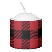 Red Buffalo Plaid Votive Candle