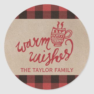 Red Buffalo Plaid Warm Wishes Christmas Classic Round Sticker
