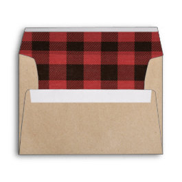 Red Buffalo Plaid Warm Wishes Christmas Envelope