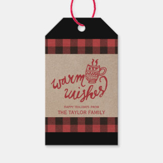 Red Buffalo Plaid Warm Wishes Christmas Gift Tags