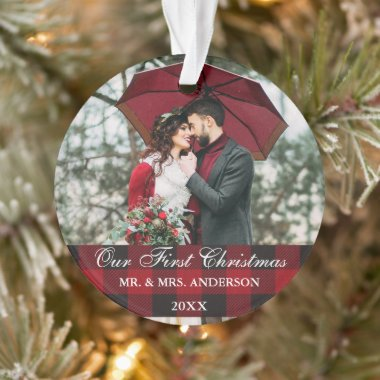 Red Buffalo Plaid Wedding Our First Christmas Ornament