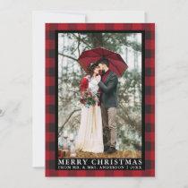 Red Buffalo Plaid Wedding Photo Merry Christmas Holiday Card