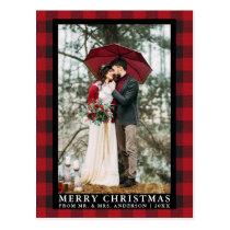 Red Buffalo Plaid Wedding Photo Merry Christmas Postcard