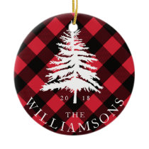 Red Buffalo Plaid White Forest Pine Tree Family Ceramic Ornament